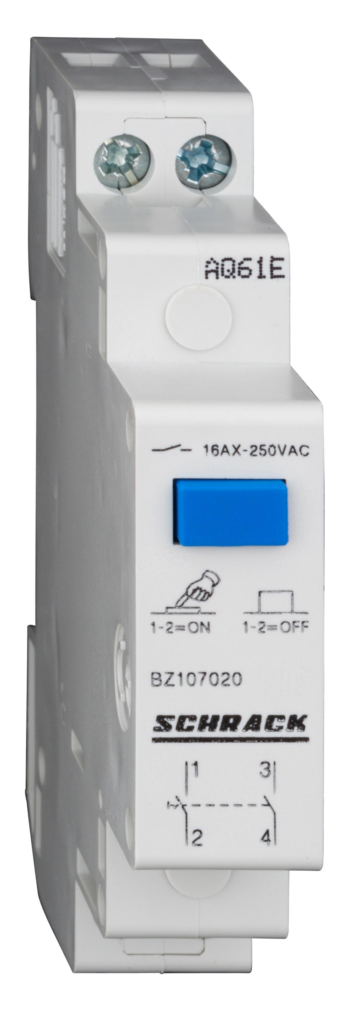 1 Stk Reiheneinbau-Schalter mit Druckknopf, 2 Schließer, 16A BZ107020--