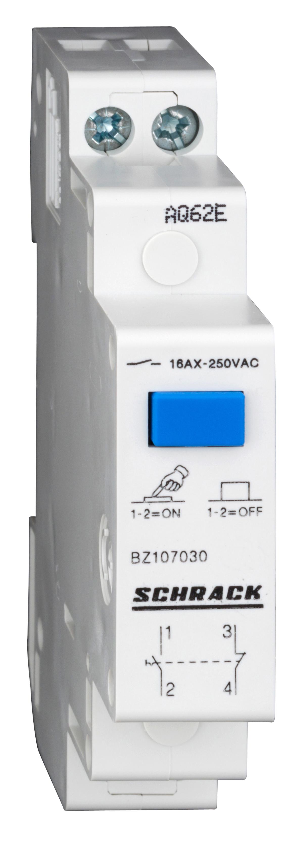 1 Stk Reiheneinbau-Schalter mit Druckknopf, 1 S + 1 Ö, 16A BZ107030--