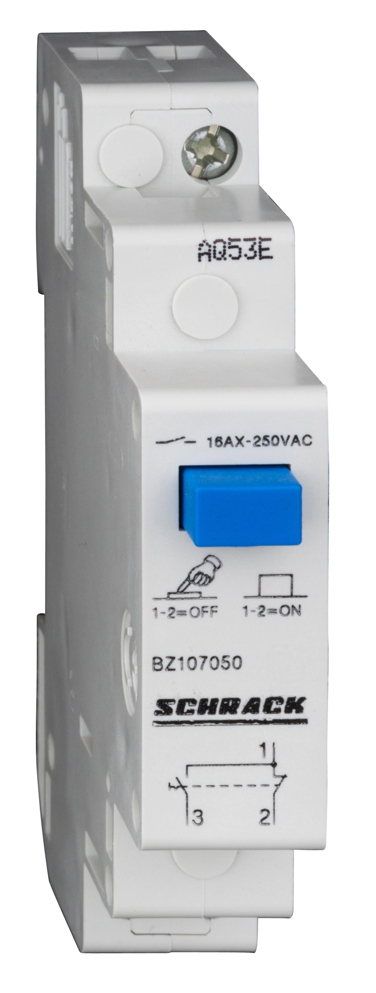 1 Stk Reiheneinbau-Wechselschalter mit Druckknopf, 1 Wechsler, 16A BZ107050--