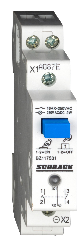 1 Stk Reiheneinbau-Taster mit LED 230VAC/DC, 1S + 1Ö, 16A BZ117531--