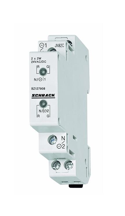 1 Stk Reiheneinbau-Doppelleuchte LED 110-240VAC/DC, rot/grün BZ117908--