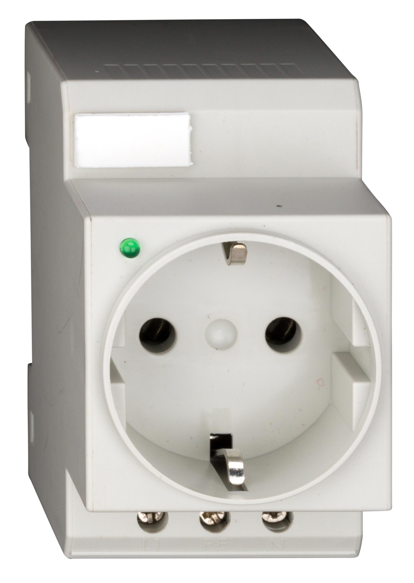 1 Stk Reiheneinbau-Schukosteckdose, mit LED und Schraubanschluss BZ325003--