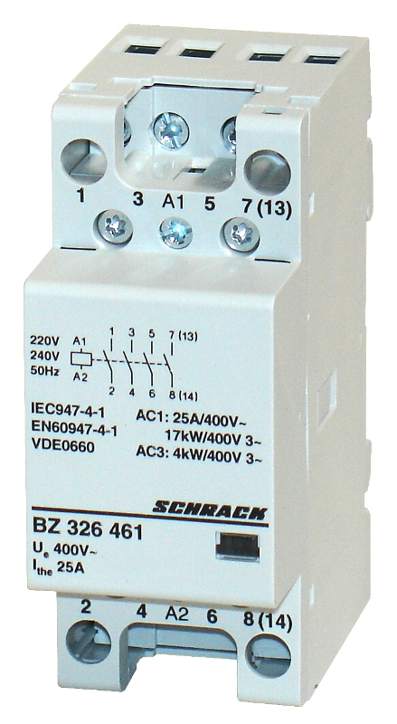 1 Stk Installationsschütz 25A, 4S, 230VAC 2TE BZ326461--