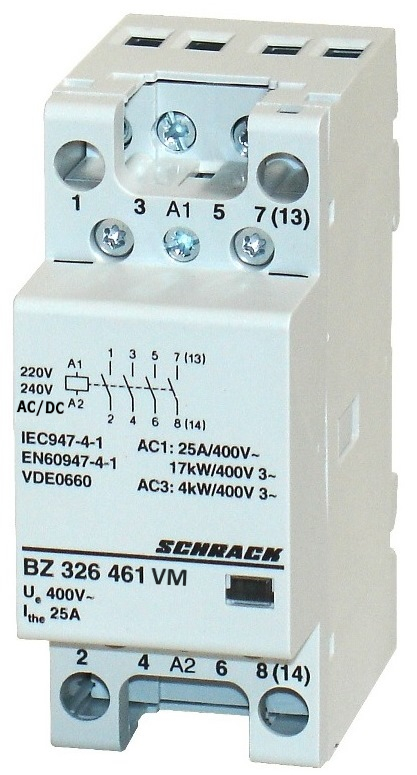1 Stk Installationsschütz 25A, 4S, 230VACDC 2TE BZ326461VM