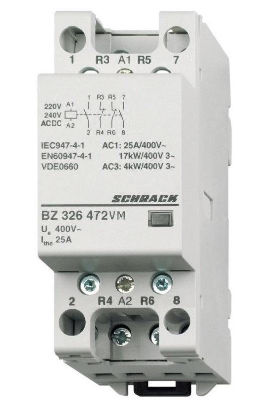 1 Stk Installationsschütz 25A, 2S+2Ö 230VACDC 2TE BZ326472VM