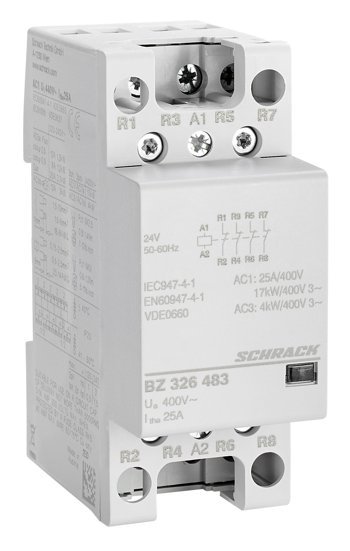 1 Stk Installationsschütz 25A, 4Ö, 24VAC 2TE BZ326483--