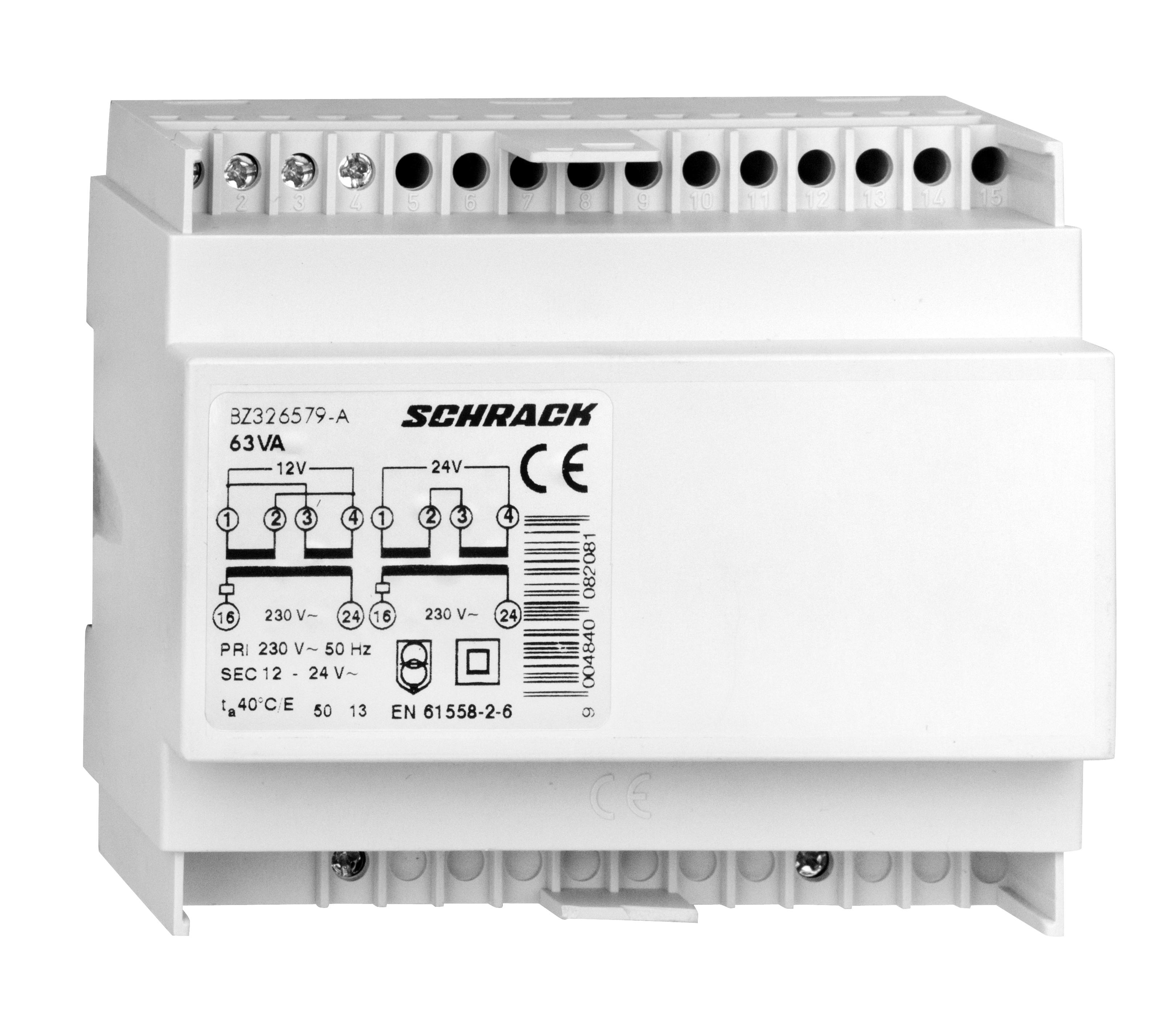 1 Stk RE-Schutztrafo 230VAC primär, 12-24VAC sekundär, 63VA BZ326579-A