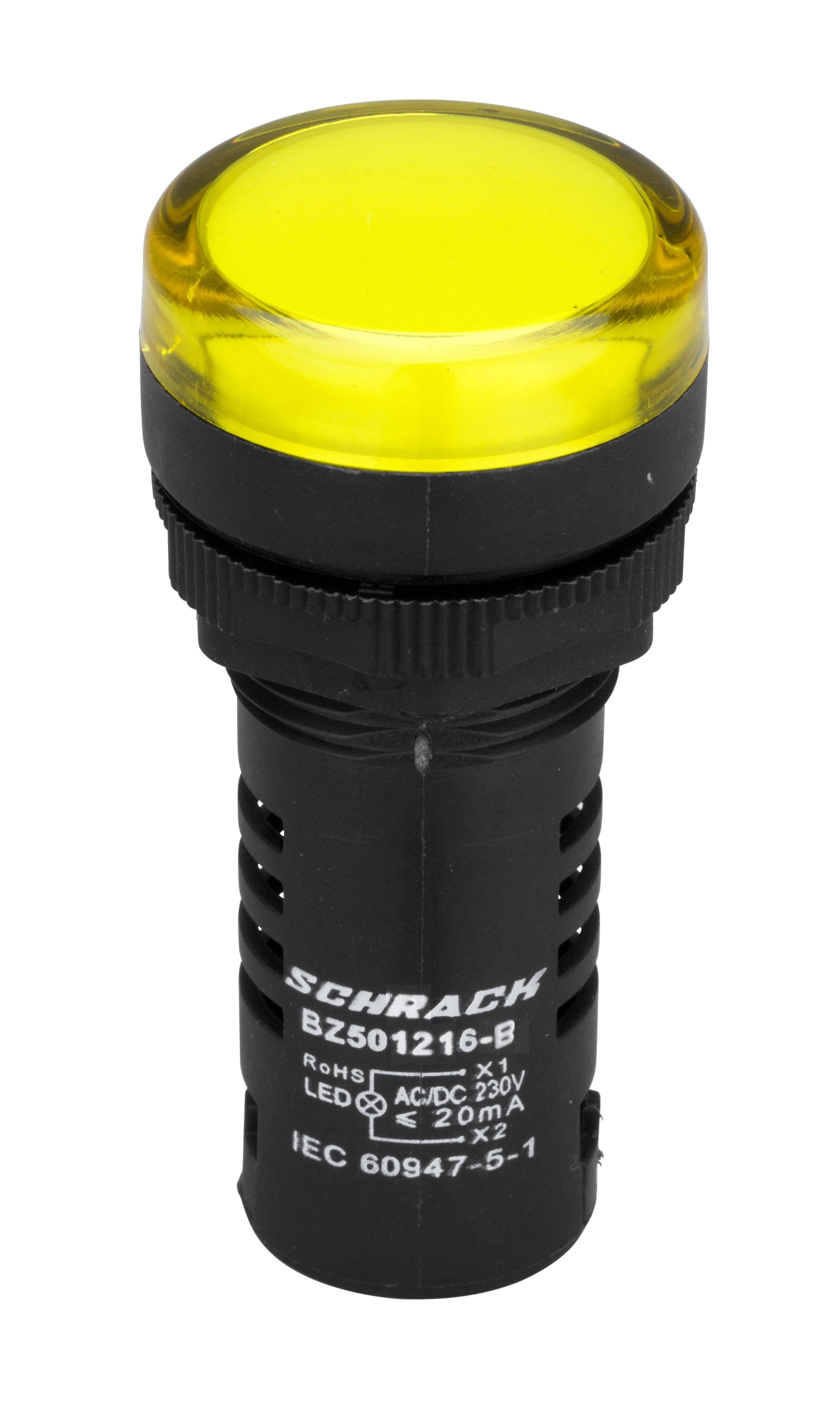 1 Stk LED-Leuchtmelder Monoblock  230 V - AC/DC gelb BZ501216-B