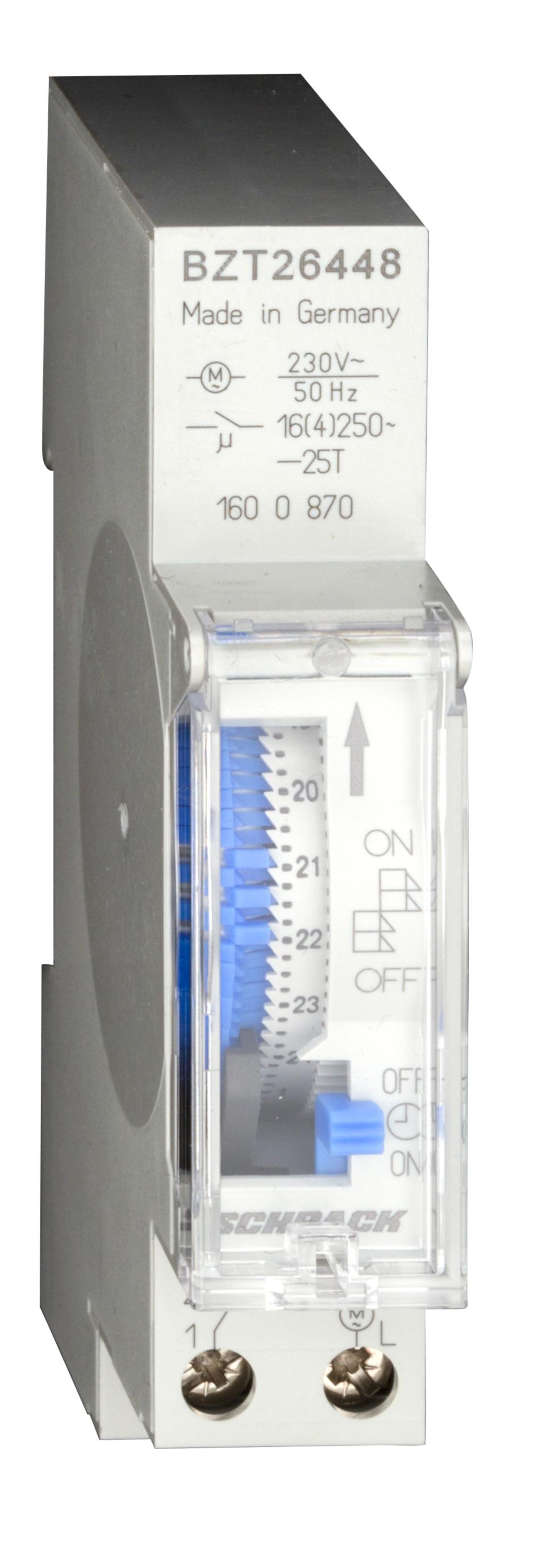 1 Stk Mechanische Tages-Schaltuhr Netzsynchron, 1TE, 1 Schließer BZT26448--