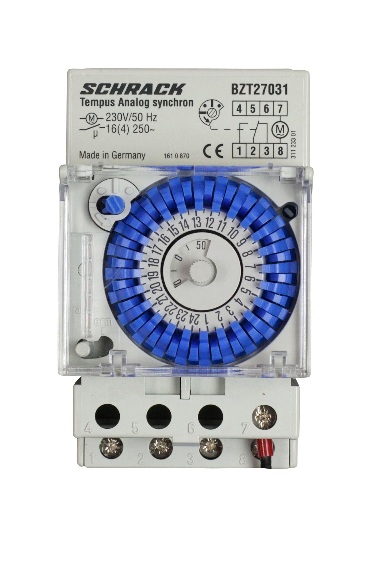 1 Stk Mechanische Tages-Schaltuhr Netzsynchron, 3TE, 1 Wechsler BZT27031--