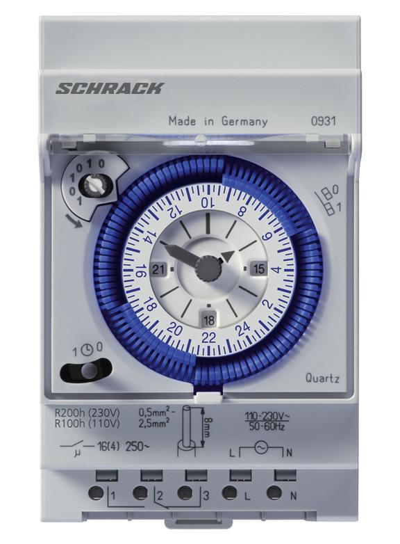 1 Stk Mechanische Tages-Schaltuhr Quartz, 3TE, 1 Wechsler BZT27131-A