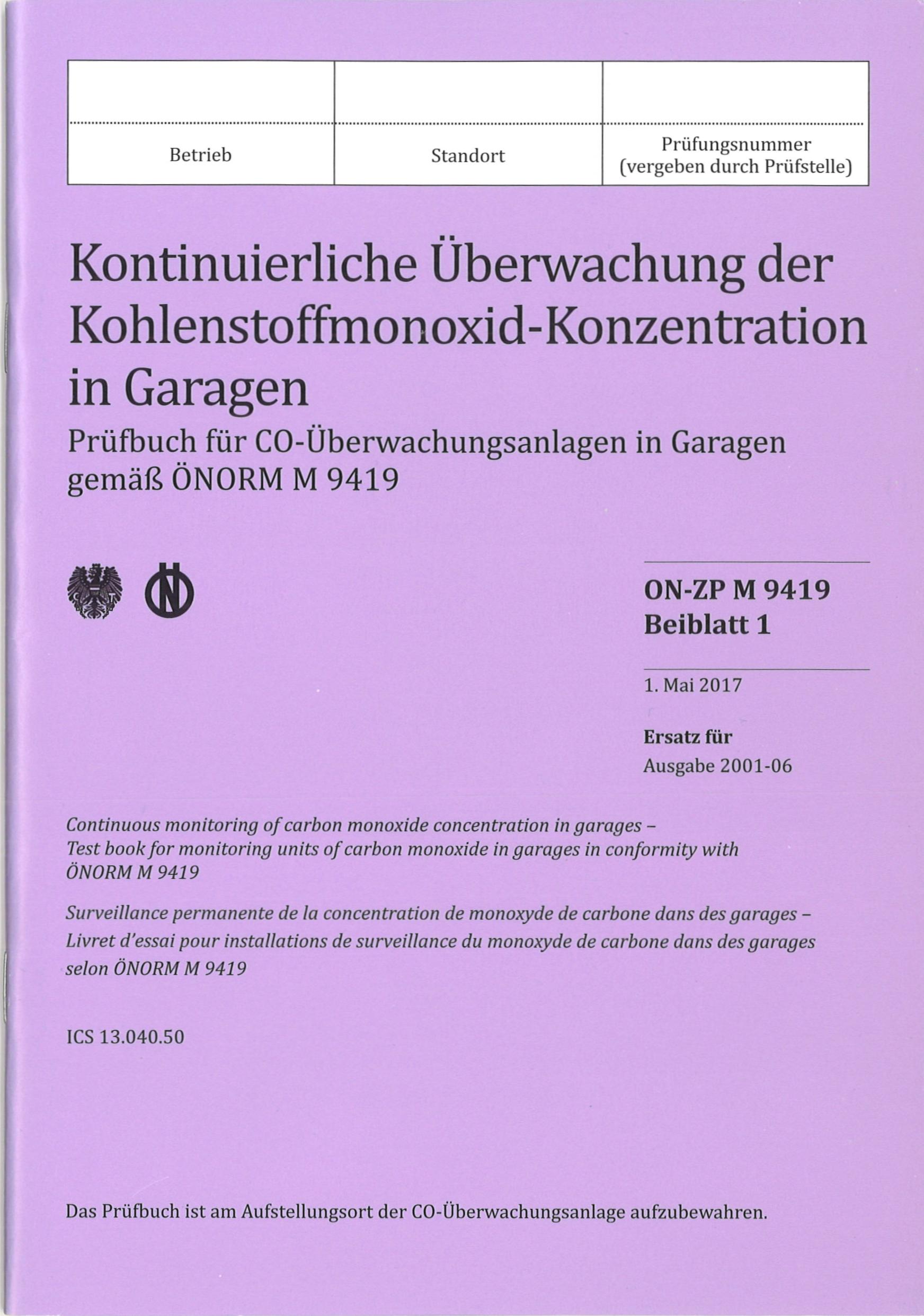 1 Stk Prüfbuch für CO Warnanlagen gemäß ÖNORM M9419 COPRUEF---