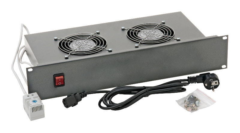 1 Stk 19 Lüftereinschub mit 2 Ventilatoren u. Thermostat, 2HE DLT24802--