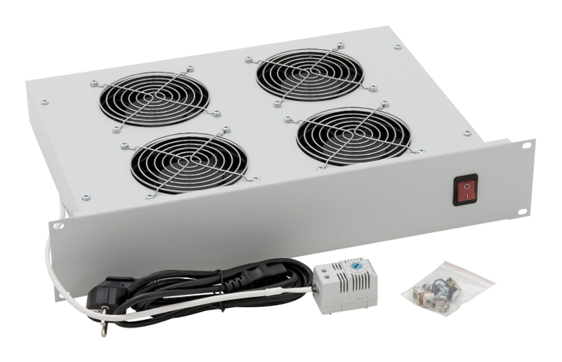 1 Stk 19 Lüftereinschub mit 4 Ventilatoren u. Thermostat, 2HE DLT24804--