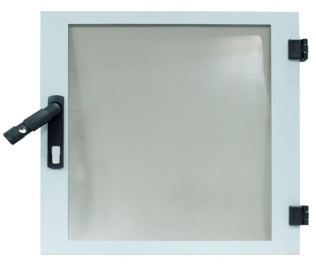 1 Stk Glas-Tür für DW-Schrank 4HE, B600, RAL7035, HZ-Vorbereitung DWRT0467--