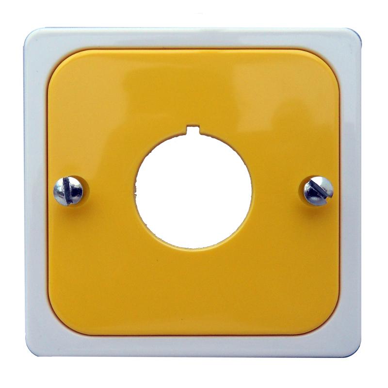 1 Stk Zentralplatte für Befehlsgeräte mit Loch 22,5 gelb/perlweiß EL203066--