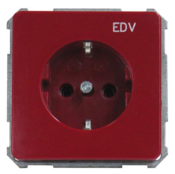 1 Stk UP-Steckdoseneinsatz mit Aufdruck EDV, Steckklemmen, rot EL205109--