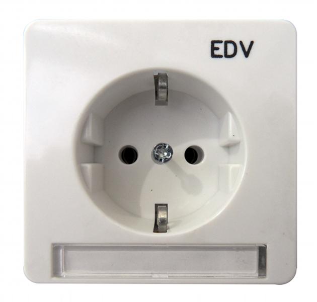 1 Stk UP-Steckdoseneinsatz EDV mit Schriftfeld, Steckklemmen, rw EL205114--