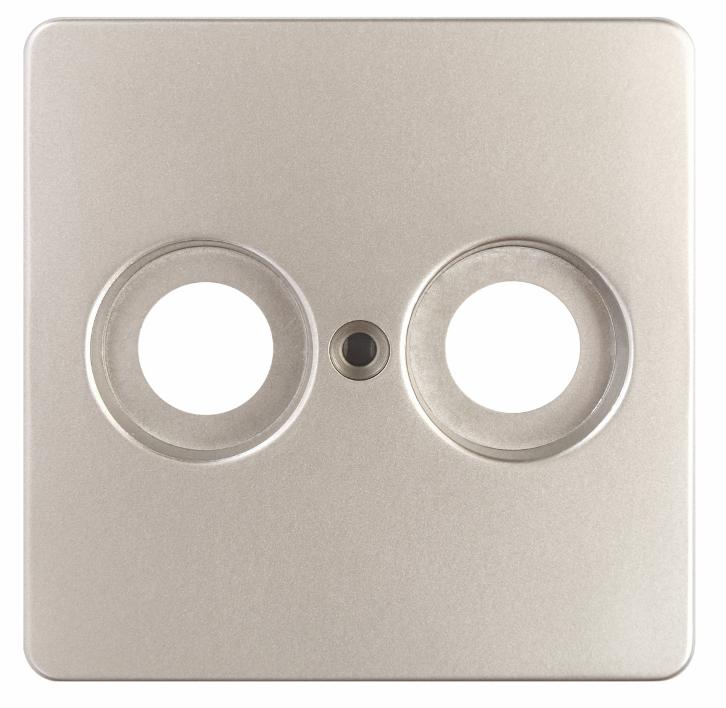 1 Stk Zentralplatte 2-Loch für Antennensteckdosen Edelstahleffekt EL2060211-