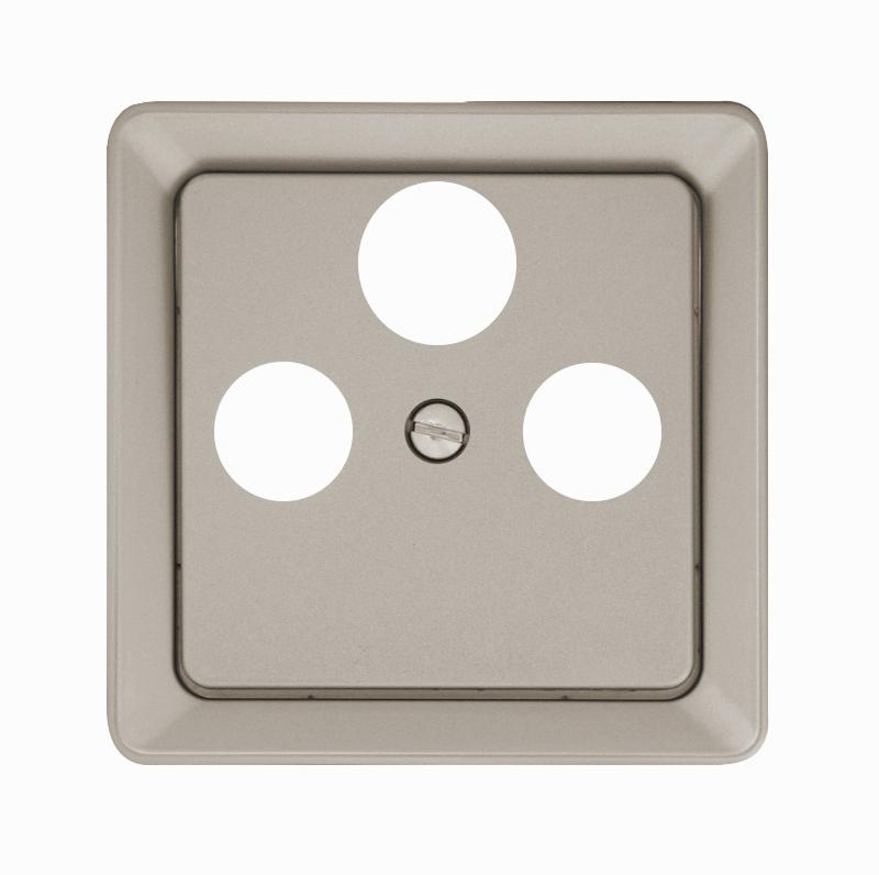1 Stk Zentralplatte 3-Loch für Sat-Antennendosen Edelstahleffekt EL2060311-