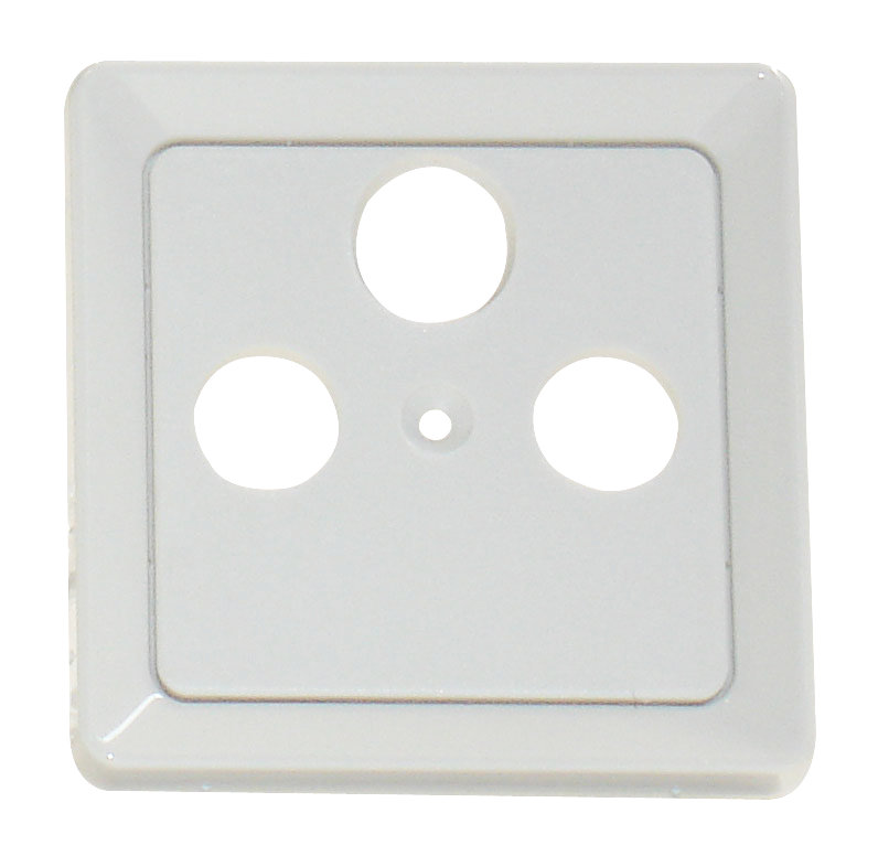 1 Stk Zentralplatte 3-Loch für Sat-Antennensteckdose, reinweiß EL206034--