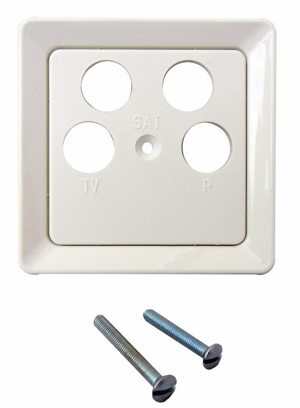 1 Stk Zentralplatte für Sat-Dosen 4-Loch Astro/Ankaro, perlweiß EL206050--