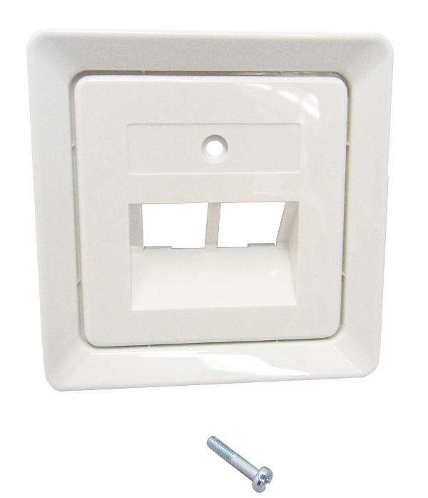 1 Stk Zentralplatte für UAE 2xRJ45 ohne Schriftfeld, reinweiß EL206414--