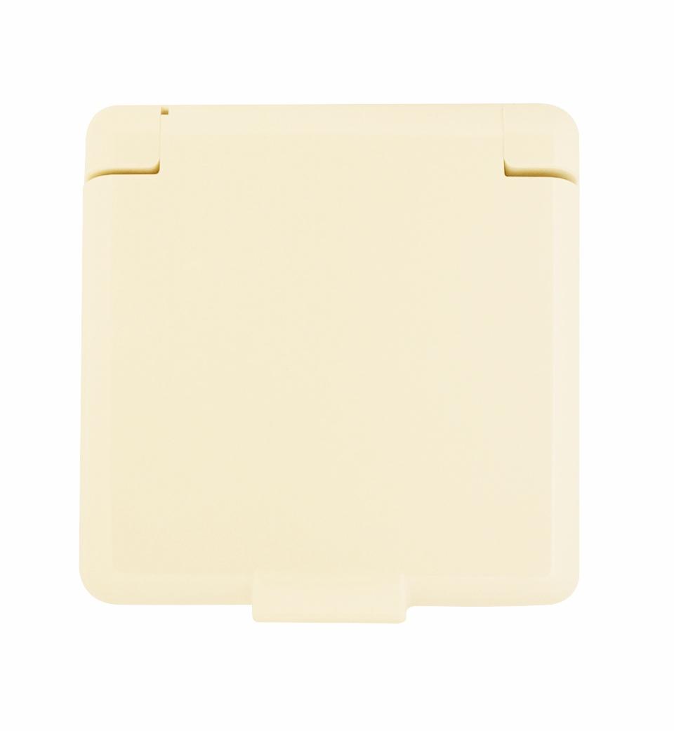 1 Stk Zentralplatte für Steckdose mit Klappdeckel, perlweiß EL223140--