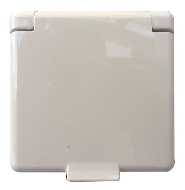 1 Stk Zentralplatte für Steckdose mit Klappdeckel, reinweiß EL223144--