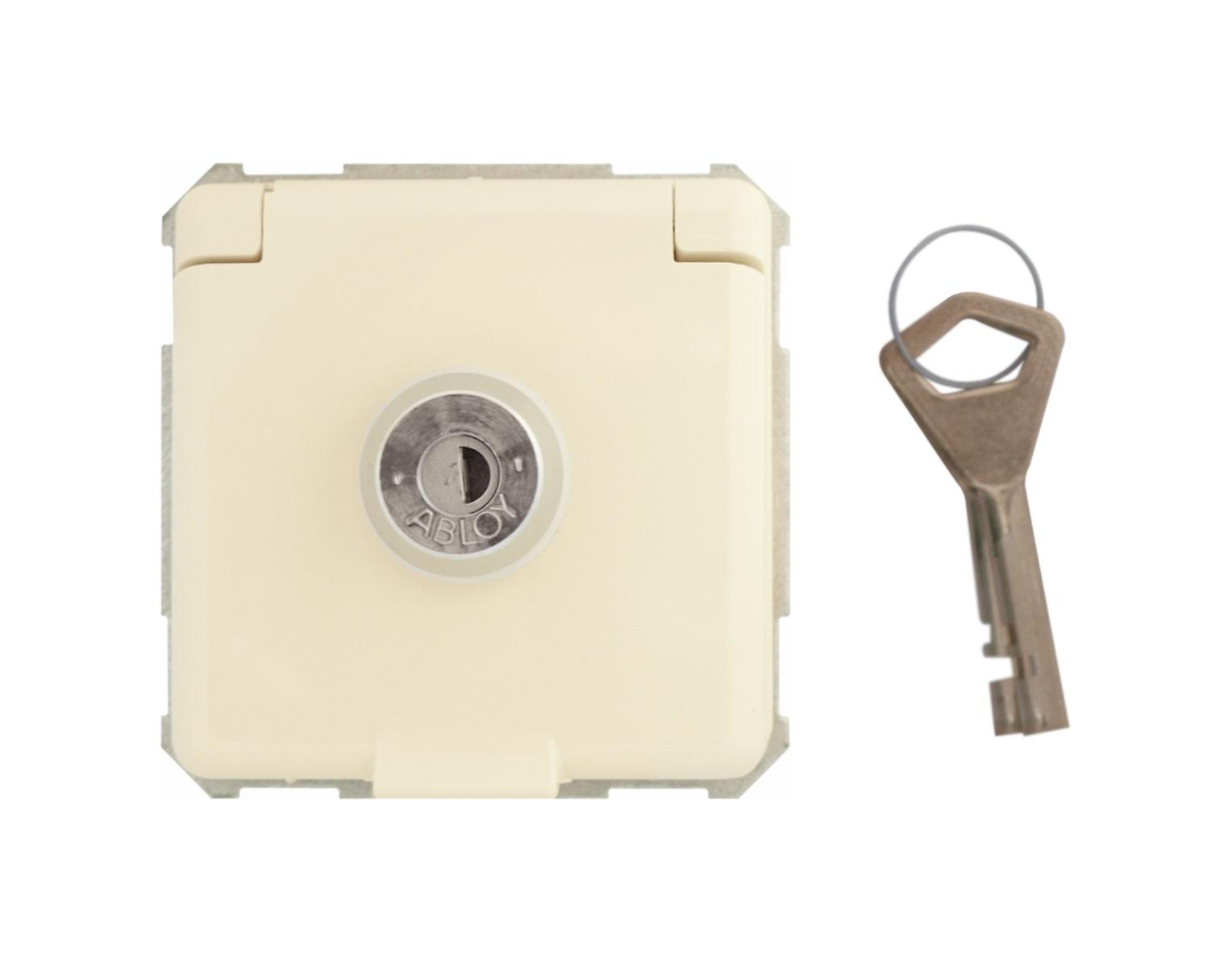 1 Stk Steckdoseneinsatz abschließbar, gleiche Schließungen, pw EL225070--