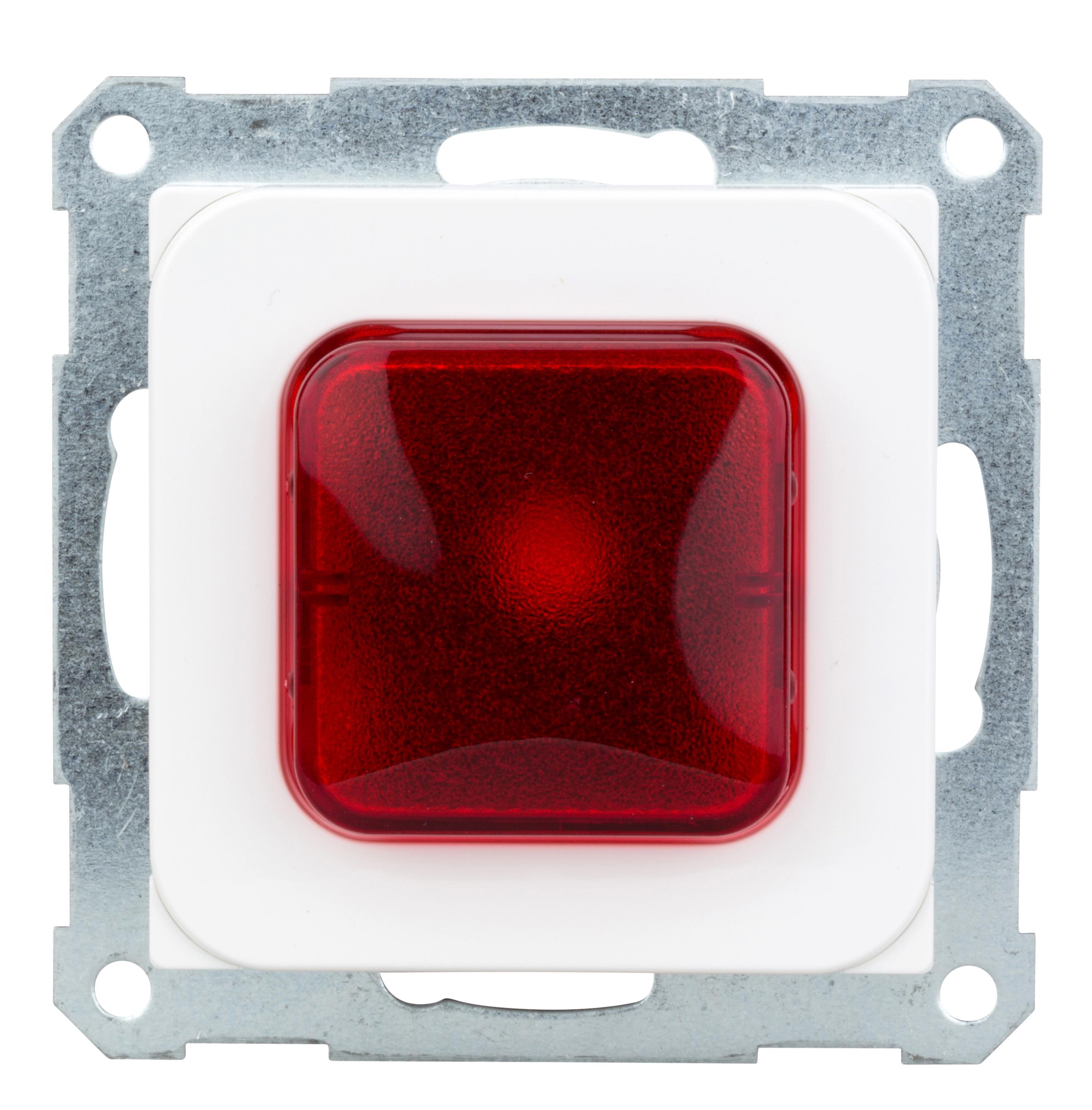 1 Stk Lichtsignal E 10 weiß, mit Glimmlampe und rote Haube EL376014--