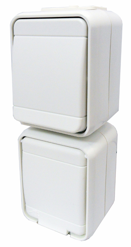 1 Stk AP IP44 Kombi Universalschalter und Steckdose, senkrecht, pw EL448620--