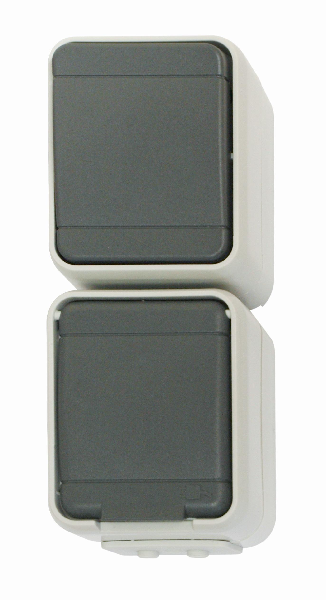 1 Stk AP IP44 Kombi Universalschalter und Steckdose, senkrecht, bg EL448629--