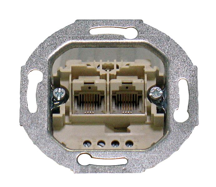 1 Stk UP Einsatz ungeschirmt 2xRJ45 2x8-polig (8/8) Schraubkontakt EL663288--