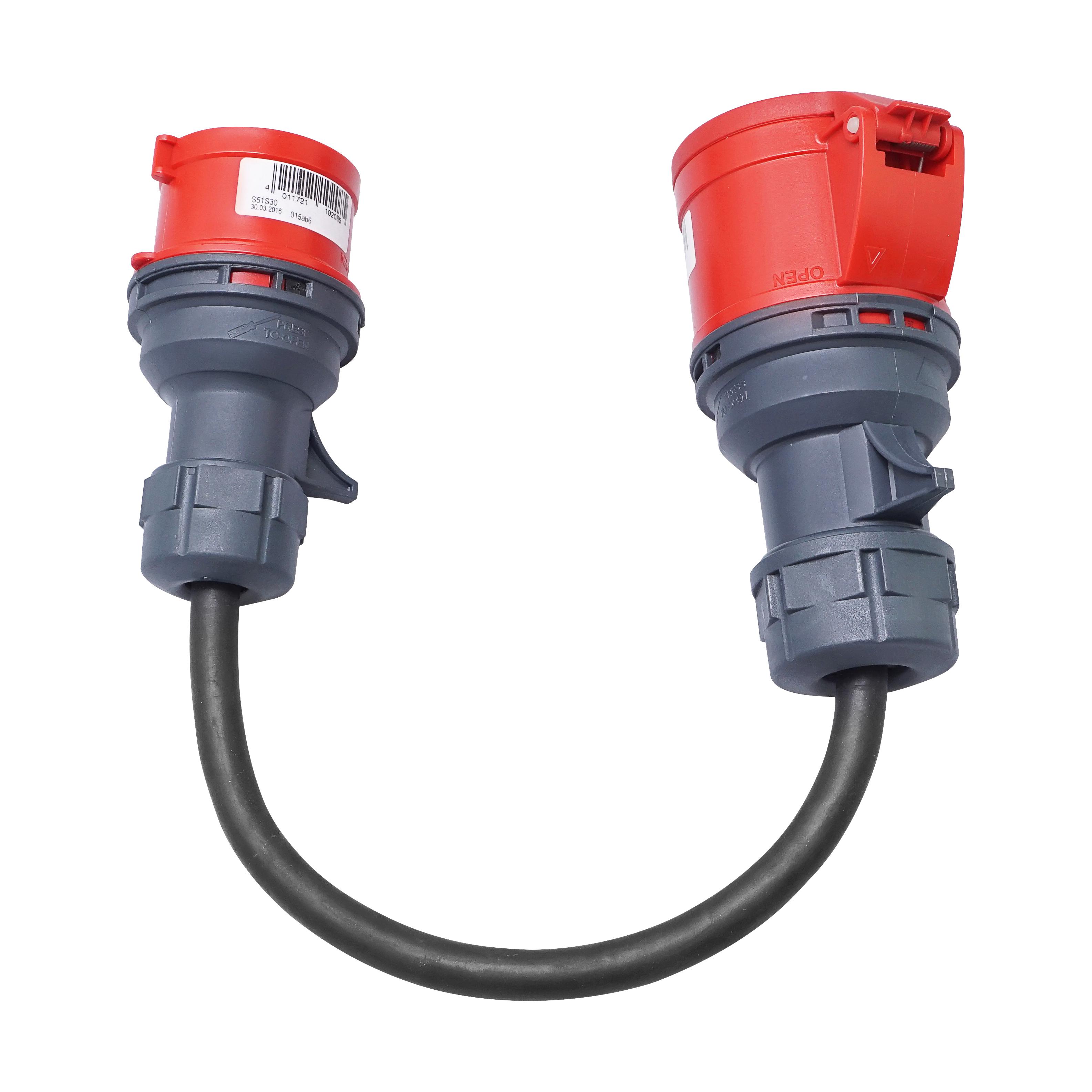 1 Stk Adapterkabel, CEE 16A auf CEE 32A, 5x2,5mm2 H07RN-F Leitung EMNKA3216-