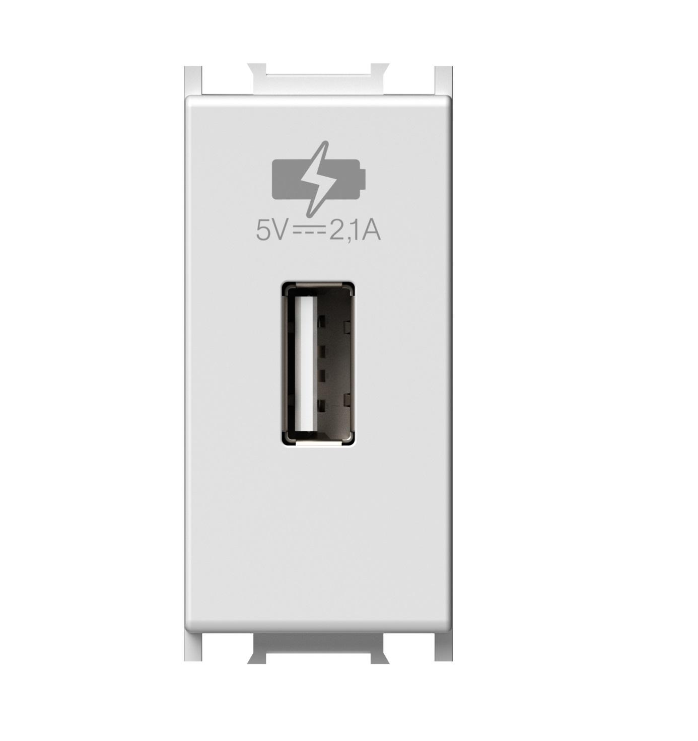 1 Stk USB Ladesteckdose, 5V, 2,1A, 1M, weiß ET101016--