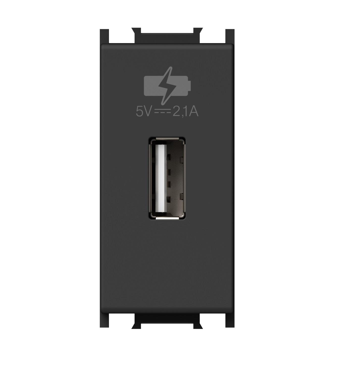 1 Stk USB Ladesteckdose, 5V, 2,1A, 1M, schwarz ET111016--
