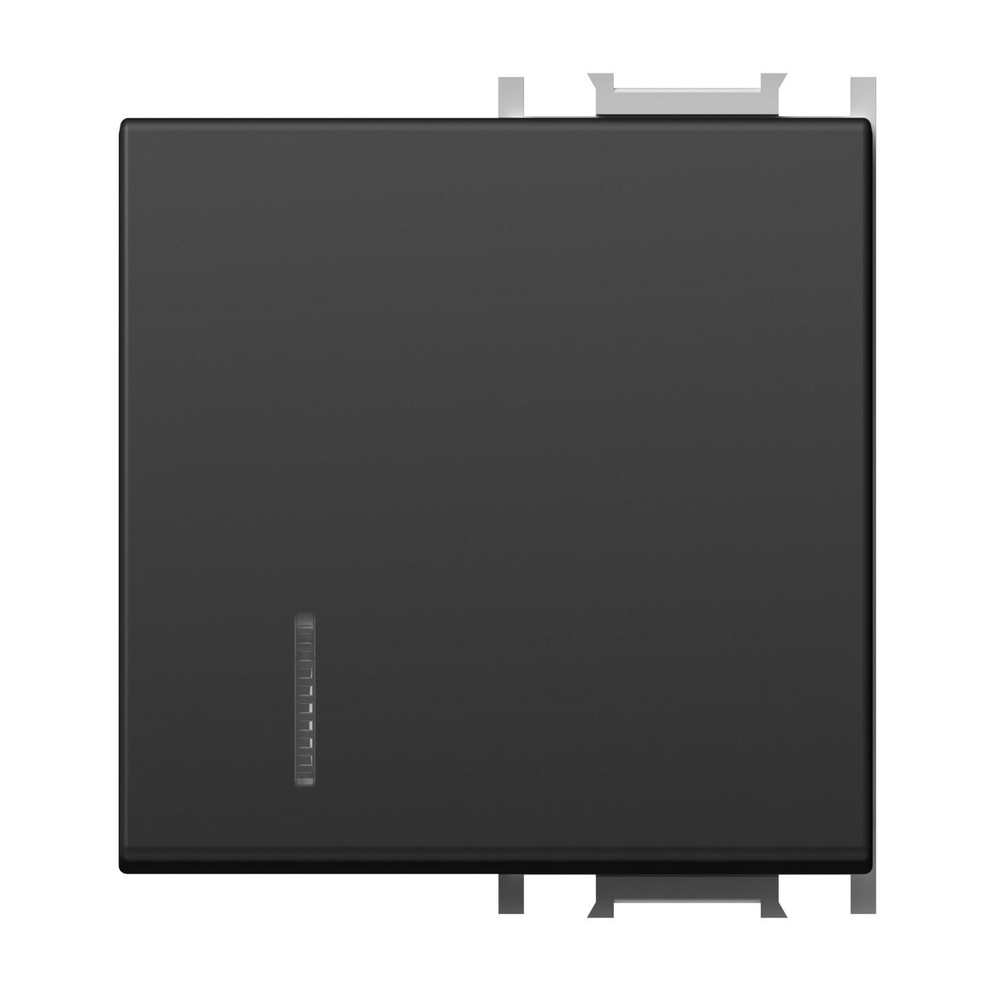 1 Stk Schalterabdeckung mit Linse 2M, schwarz ET112019--