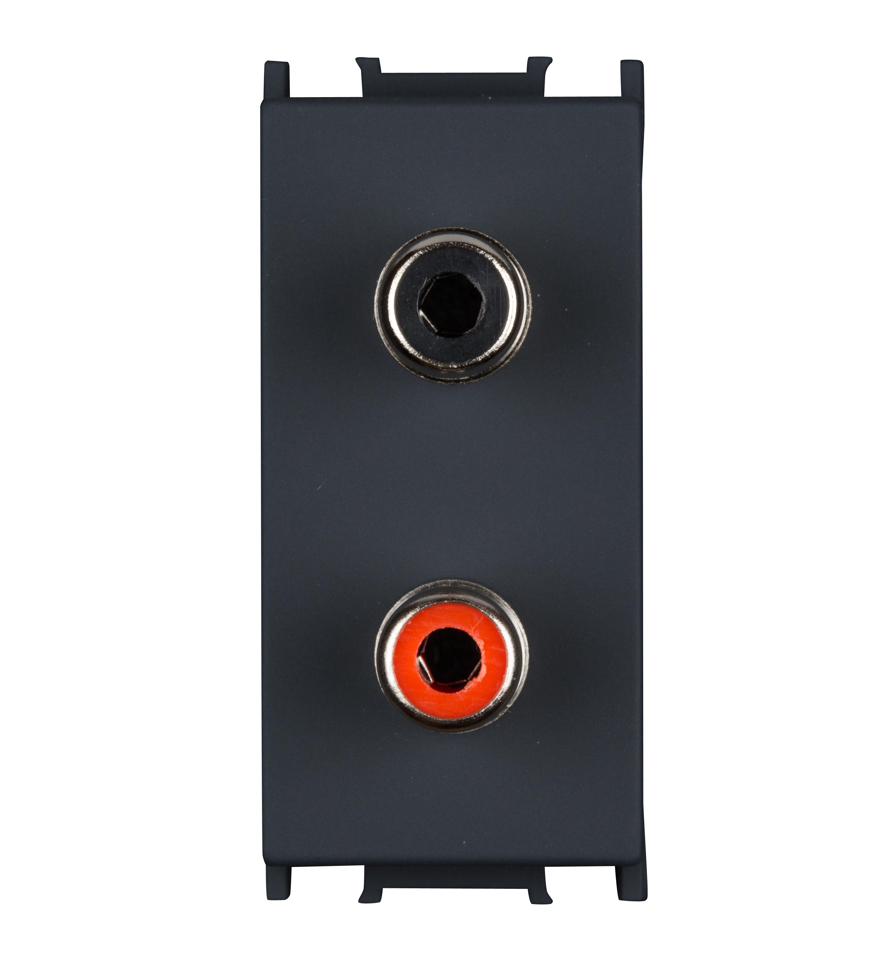 1 Stk Audiosteckdose 1M 2xRCA, schwarz ET114007--