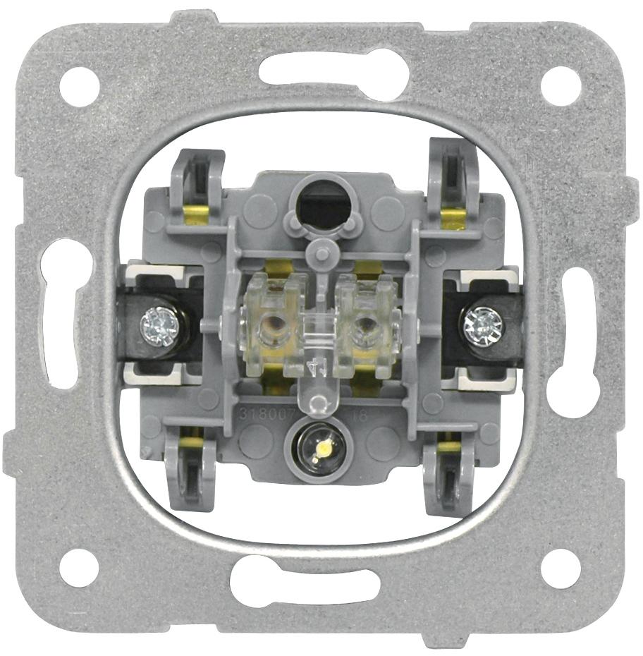 1 Stk Ausschalter-Einsatz mit Kontrolllicht, 2-polig, Steckklemmen EV100007--