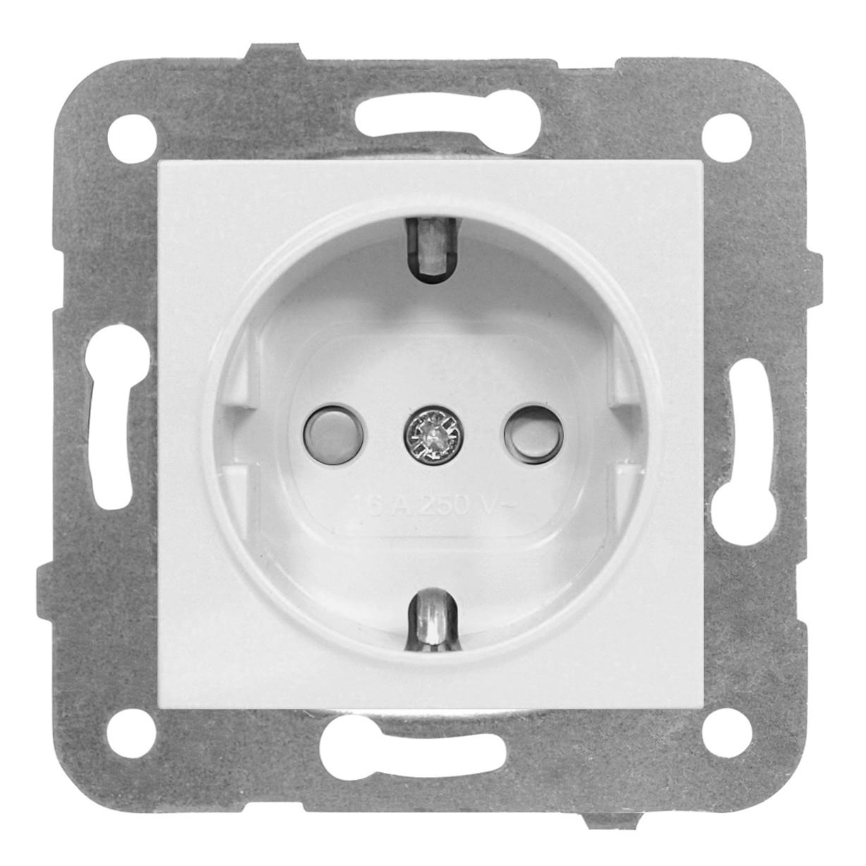 1 Stk Steckdose mit erhöhtem Berührungsschutz, weiß, Steckklemme EV101003--