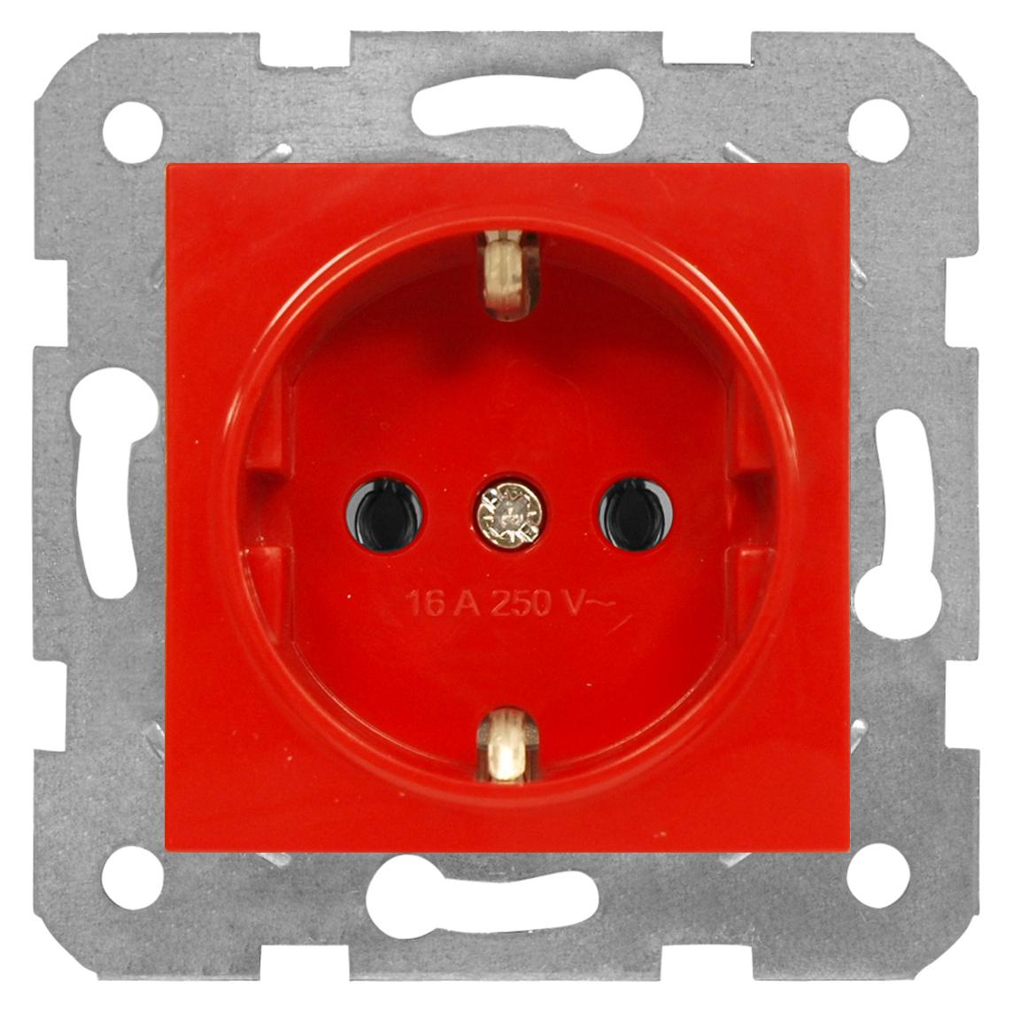 1 Stk Steckdose, rot, Schraubklemmen EV101008--