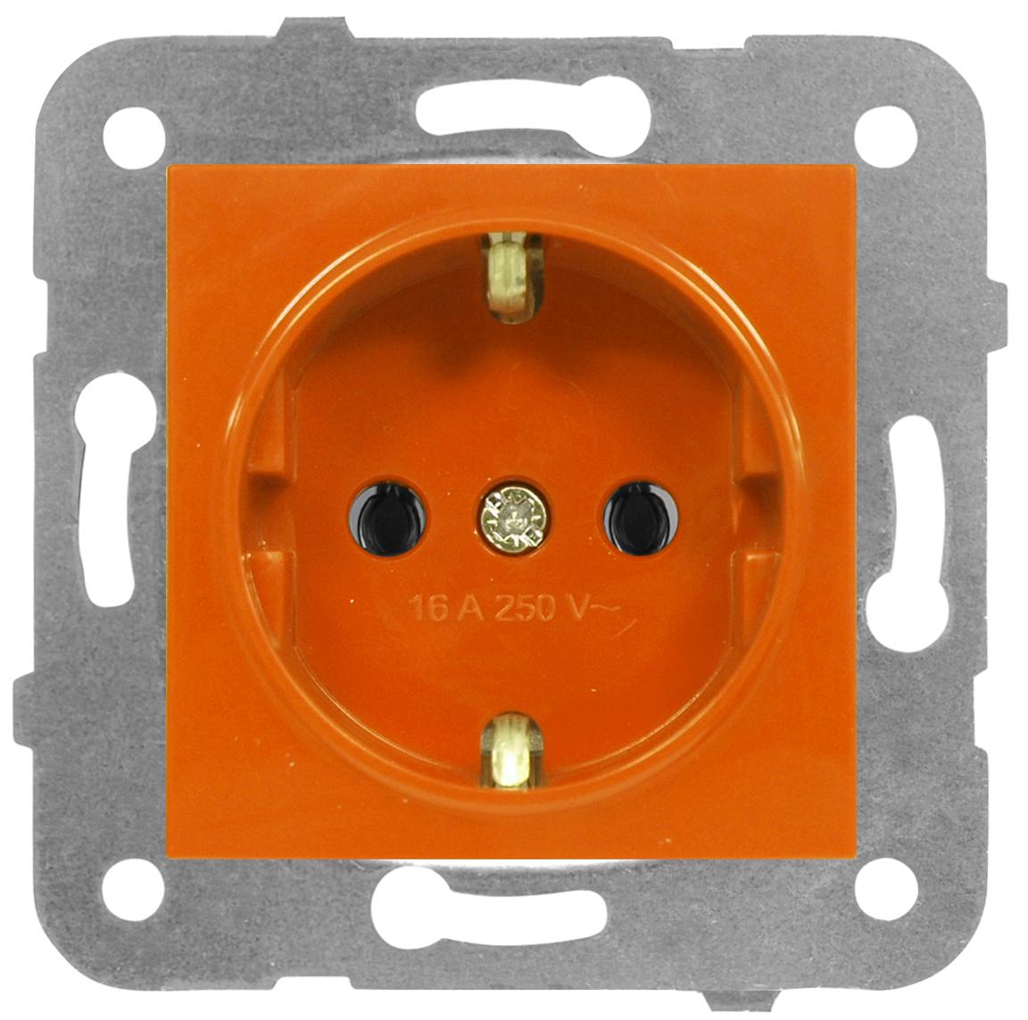 1 Stk Steckdose, orange, Steckklemmen EV101009--