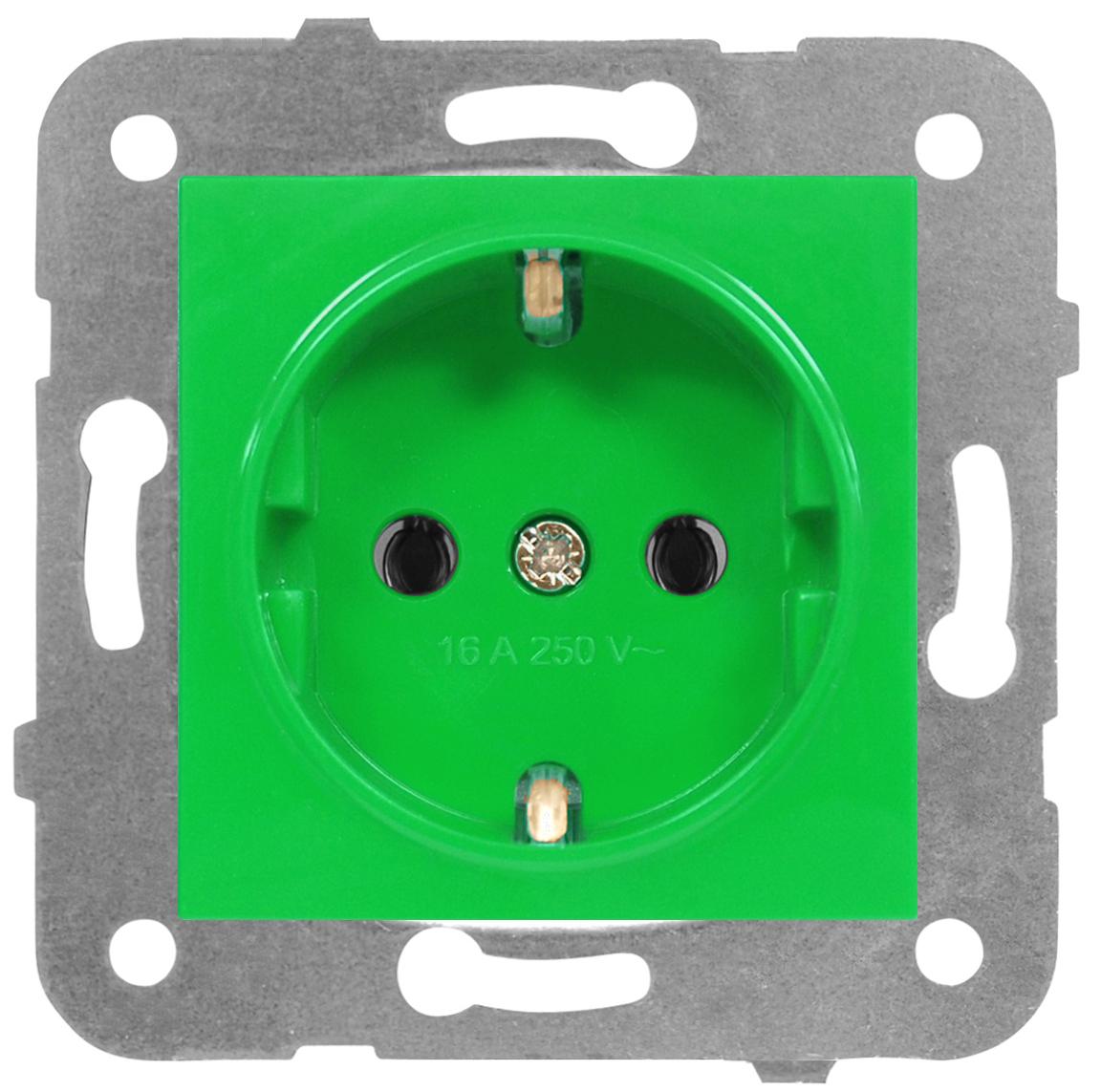 1 Stk Steckdose, grün, Steckklemmen EV101011--