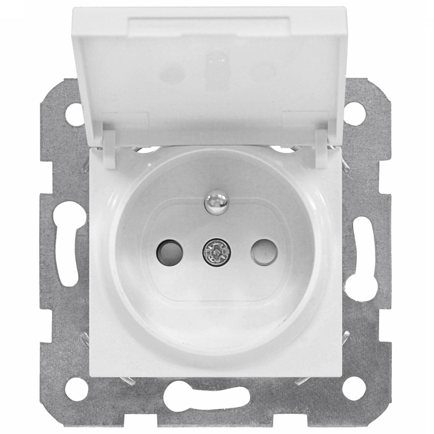 1 Stk Steckdose Erdstift, erhöhter Berührungsschutz, Klappdeckel EV101053--