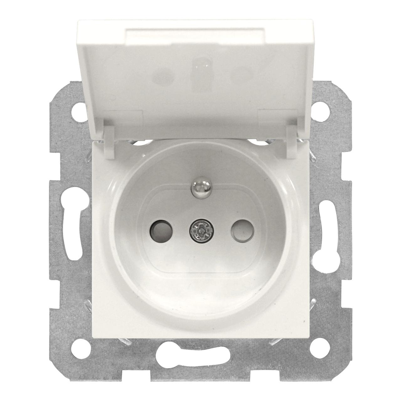 1 Stk Steckdose Erdstift, erhöhter Berührungsschutz, Klappdeckel EV101054--