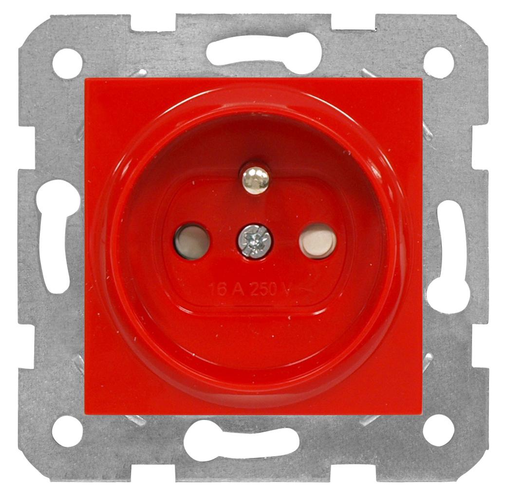 1 Stk Steckdose Erdstift, rot, Steckklemmen EV101055--