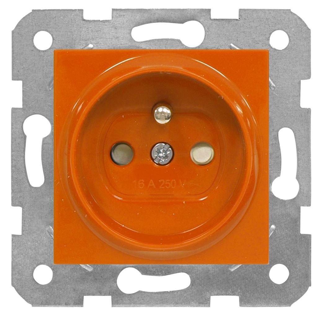 1 Stk Steckdose Erdstift, orange, Steckklemmen EV101057--