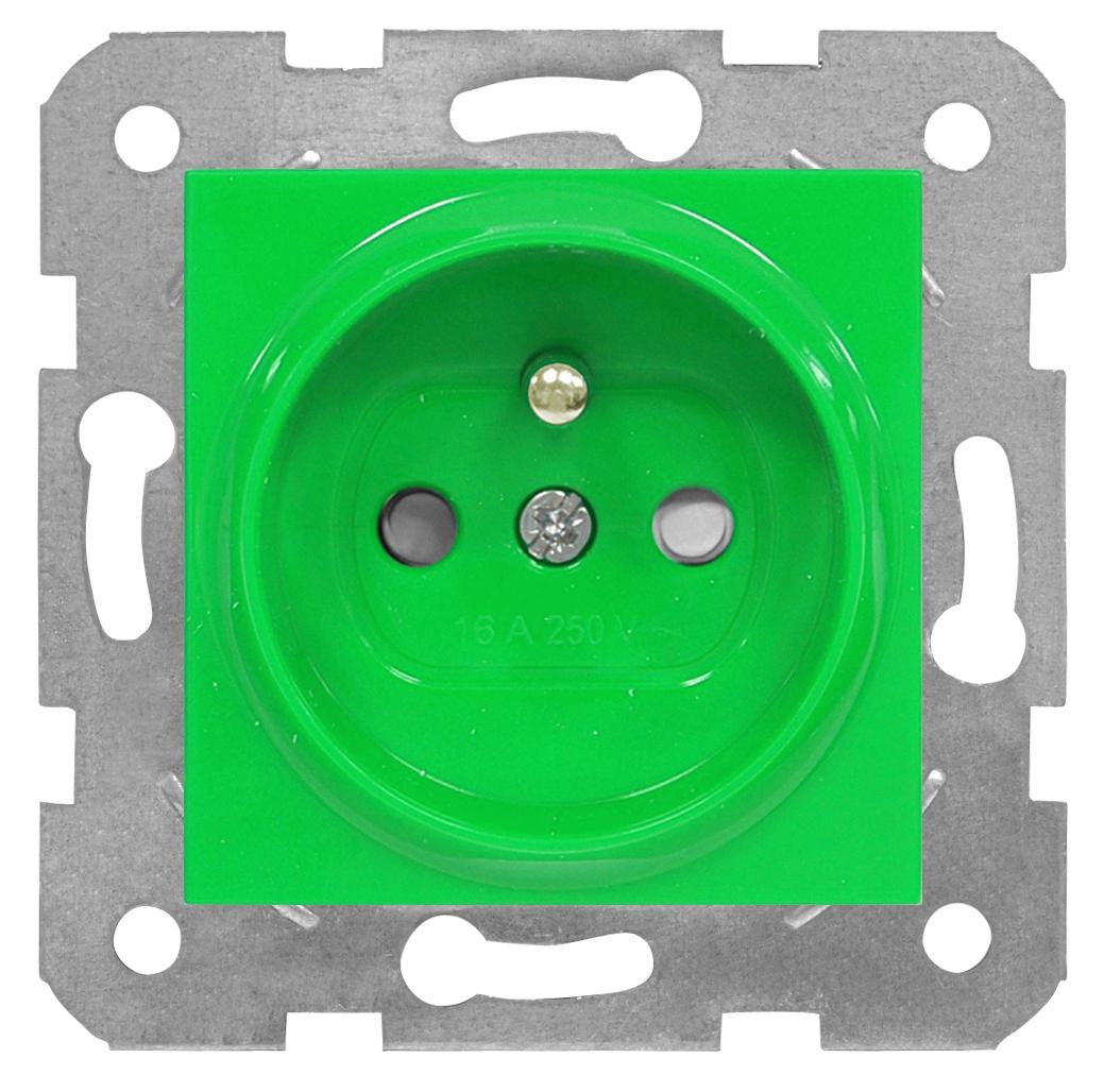 1 Stk Steckdose Erdstift, grün, Steckklemmen EV101059--
