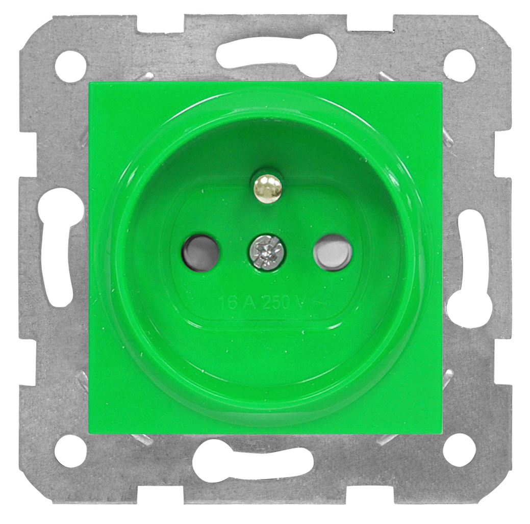 1 Stk Steckdose Erdstift, grün, Schraubklemmen EV101060--